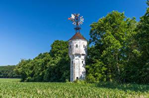 Фотографии Германия Поля Дерева Башня Northrhine-Westphalia