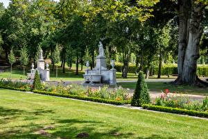 Фотографии Германия Потсдам Парки Скульптуры Деревья Газон Park Sanssouci Природа