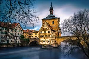 Обои Германия Реки Здания Мост Bamberg, Regnits River город