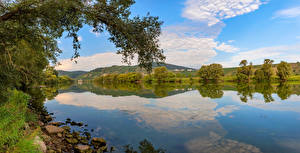 Картинка Германия Река Небо Дерева Mosel River Природа