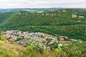 Фото Германия Городки Дома Леса Сверху Honau Города