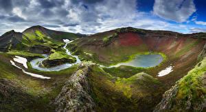 Обои для рабочего стола Исландия Гора Облака Fjallabak Природа