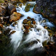 Фотографии Исландия Реки Камень Водопады Природа