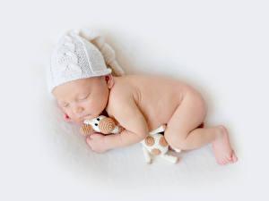 Фотографии Младенца Шапки Спит Дети