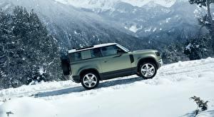Картинки Range Rover Зимние SUV Сбоку Снега Defender 90, D240 SE, Urban Pack, 2020