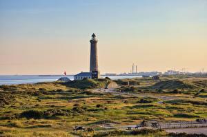 Картинка Маяк Дания Skagen, Cape Grenen город