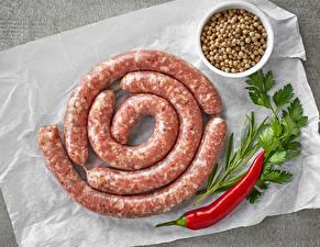 Фото Мясные продукты Колбаса Острый перец чили Зерно