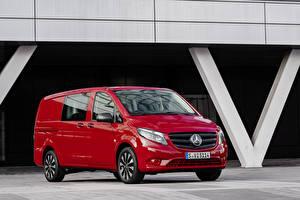 Фотографии Мерседес бенц Минивэн Красные Металлик 2020 Vito Mixto Worldwide Автомобили