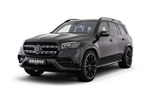 Обои Mercedes-Benz Brabus Черный Металлик Белый фон 550 (X167), 2020 Автомобили картинки