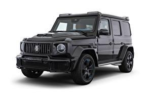 Обои для рабочего стола Мерседес бенц Гелентваген Внедорожник Белом фоне Черная 2020 Brabus Invicto VR6 Plus ERV Luxury авто