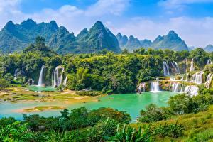 Картинки Гора Водопады Вьетнам Речка Лес Detian Waterfall, river Cuison