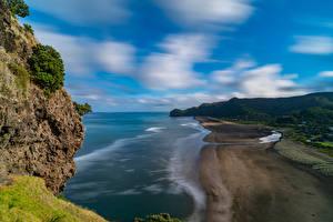 Обои Новая Зеландия Побережье Утес Piha Beach Природа