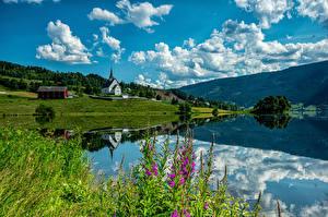 Обои Норвегия Горы Церковь Облако Ulnes