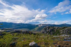 Фотографии Норвегия Гора Парки Камни Облачно Rago National Park Природа