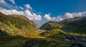 Обои Норвегия Горы Камень Небо Скала Облака Hardangerfjord