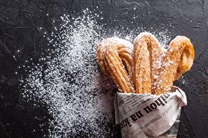 Картинка Выпечка Сахарная пудра Газета churros Пища