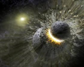 Фотографии Планеты Катастрофы Ударяет Космос