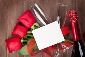 Обои для рабочего стола Роза Шаблон поздравительной открытки Бокалы Бутылка Цветы