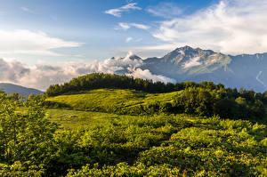 Картинка Россия Горы Облака Холм Krasnodar Krai, Mount Chugush Природа