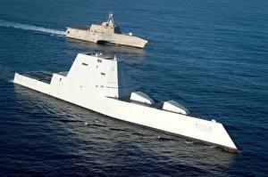 Обои Корабль Американская USS Independence (LCS 2), USS Zumwalt(DDG 1000) Армия