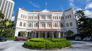 Обои Сингапур Здания Отель Газон Дизайна Raffles Hotel город