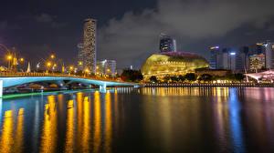 Фото Сингапур Парки Здания Реки Мост В ночи Уличные фонари Merlion Park Города