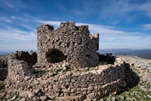Картинка Испания Замки Развалины Из камня Castell de la Mola Природа