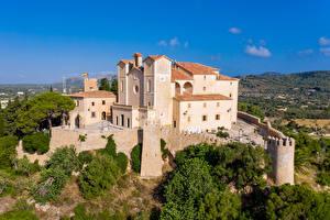 Обои Испания Мальорка Майорка Монастырь Здания Забора Sant Salvador Города