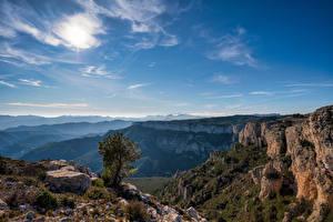 Обои Испания Горы Небо Скала Catalonia Природа
