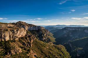 Фотография Испания Гора Небо Утес Долина Catalonia Природа