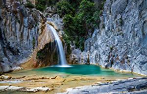 Обои Испания Водопады Скале