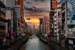 Фотографии Рассвет и закат Япония Реклама Водный канал Osaka Города