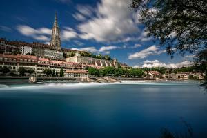 Фото Швейцария Здания Берег Собор Aare River, Bern Minster Города