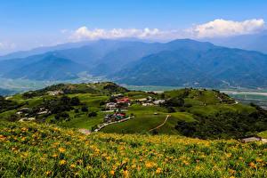 Фото Тайвань Дома Поля Луга Холмы Hualien