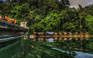 Обои Таиланд Парки Озеро Лес HDR Cheow Lan Lake Khao Sok National Park Природа