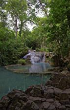 Фотографии Таиланд Парк Камень Водопады Erawan Nationalpark Природа