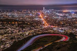 Обои для рабочего стола США Мегаполиса Сан-Франциско Ночь Сверху город