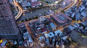Картинка Вьетнам Здания Реки Вечер Крыше Сверху Saigon город