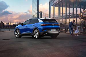 Обои для рабочего стола Volkswagen CUV Синяя Металлик ID.4 1st Edition, 2021 автомобиль