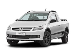 Картинка Volkswagen Пикап кузов Серебряный Металлик Белом фоне Saveiro Trooper CE, 2009–13 машины