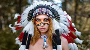 Обои Индейский головной убор Индейцы Vyacheslav Tsurkan, Evgeniya Nemirova девушка