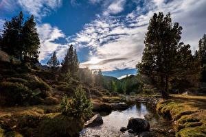 Фотографии Андорра Гора Осень Речка Камень Облако Дерево Pyrenees Природа