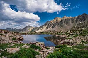 Обои Андорра Горы Камни Озеро Пейзаж Облачно Lakes Pessons