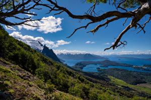 Фотография Аргентина Горы Озеро Небо Пейзаж Ветка Bariloche, Patagonia Природа