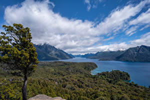 Обои Аргентина Горы Реки Пейзаж Облачно Negro River, Patagonia Природа