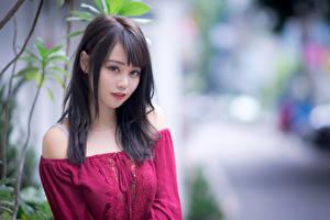 Картинки Азиатки Блузка Взгляд Боке Брюнетка молодая женщина