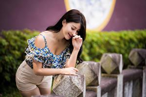Обои Азиаты Позирует Улыбается Блузка Размытый фон Девушки