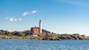Обои Канада Берег Камень Маяк Небо Fisgard Lighthouse Природа
