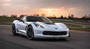 Картинки Шевроле Белых Corvette Z06, Carbon, 65 Edition, 2017 Автомобили