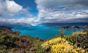 Фотография Чили Гора Озеро Облака Lago General Carrera